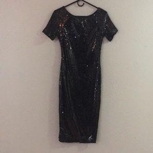 Black Sequin Formfitting Dress